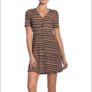 LUSH A Line stripped Mini Dress casual button down